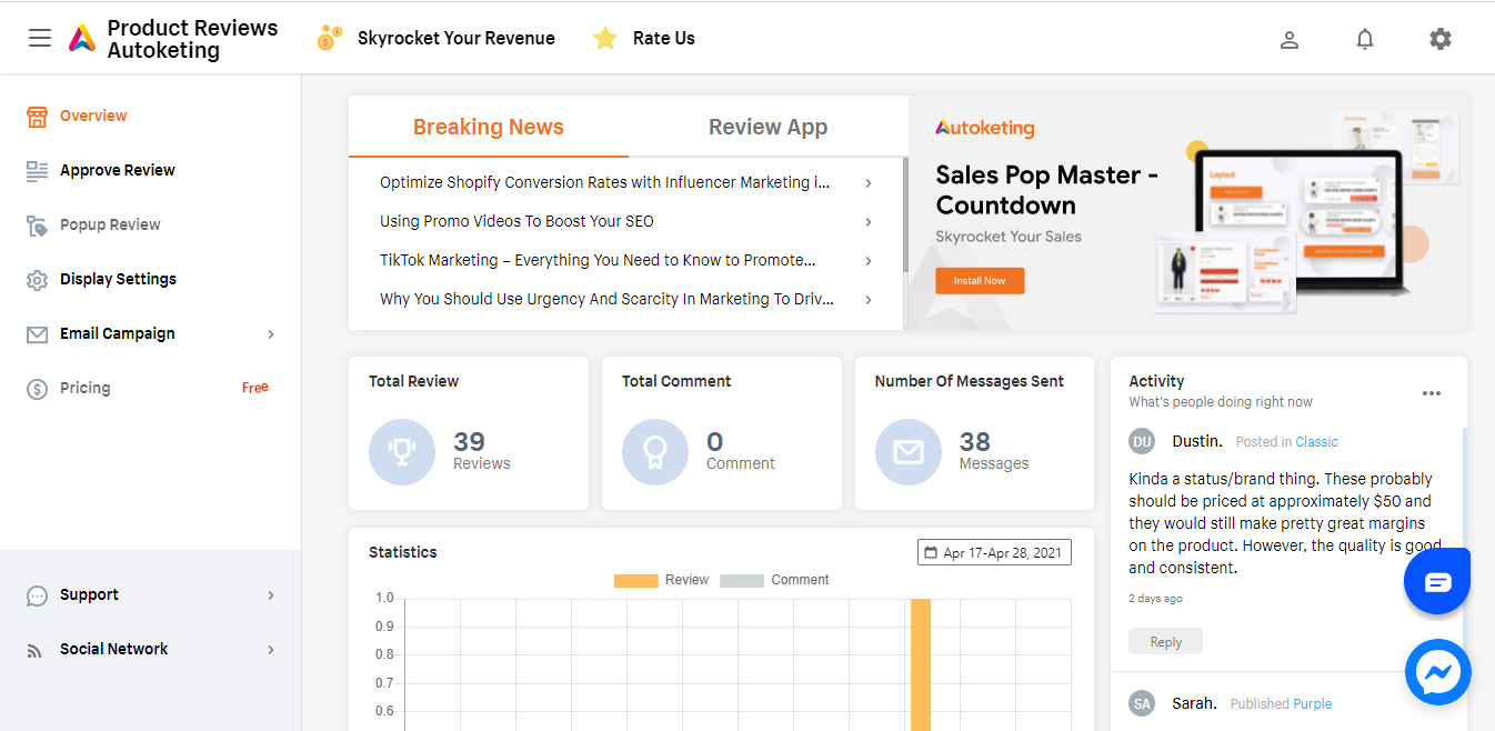 Brand new dashboard designed by Autoketing