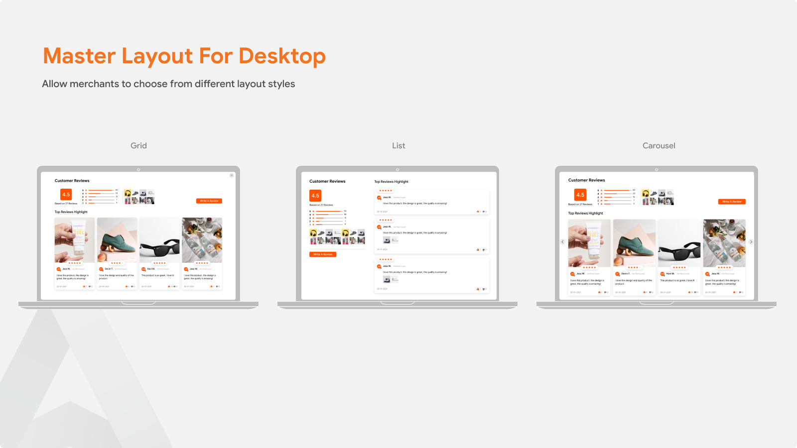 Product Reviews Autoketing layout for desktop