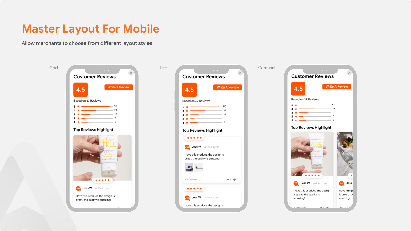Product Reviews Autoketing layout for mobile