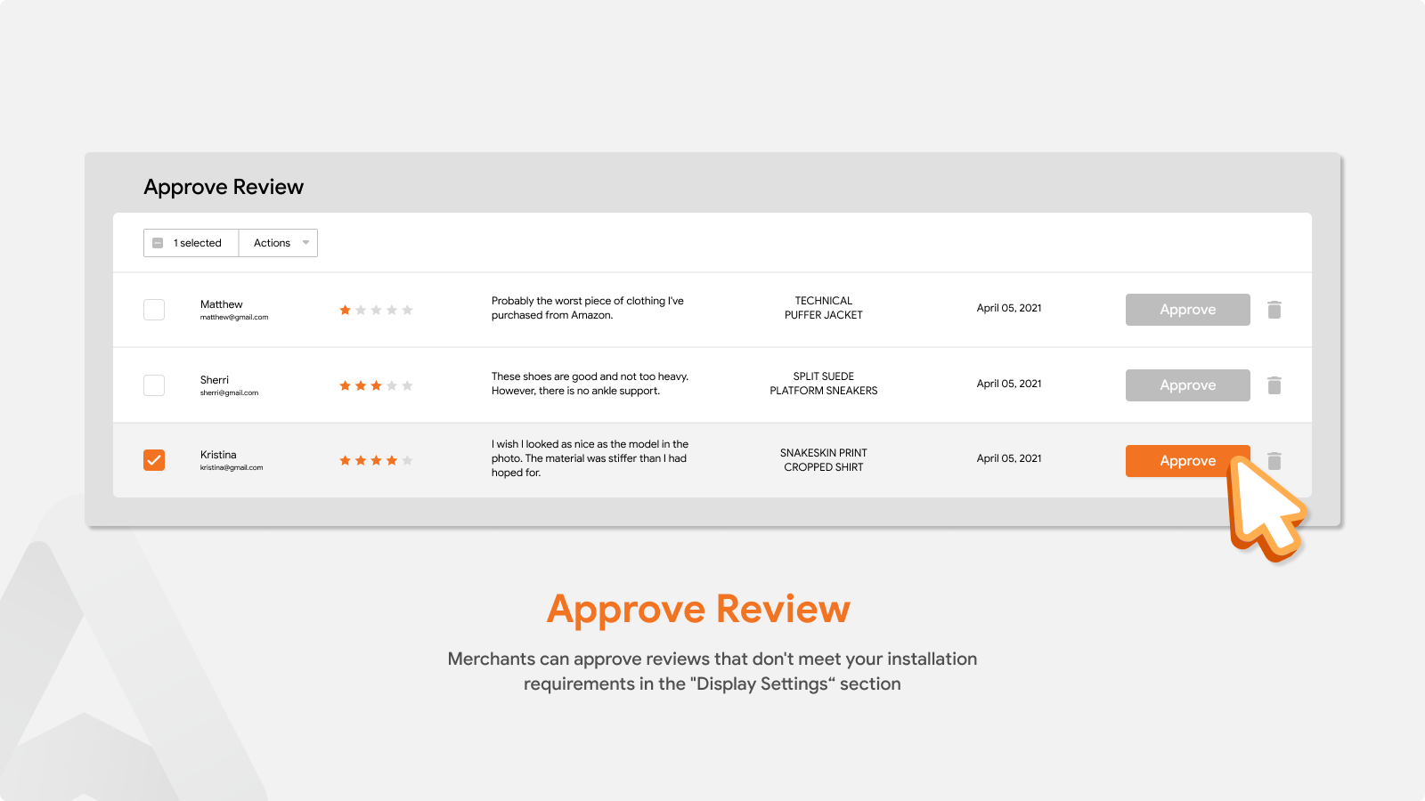 Manage all reviews that do not meet the requirements that shop owners set up